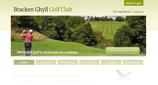 Golf Club Web site design
