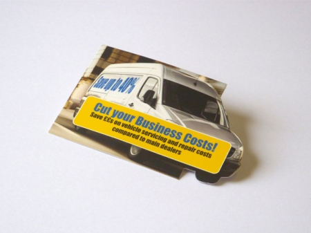 Die cut business cards bespoke shaped business cards die cut card with breakout van shape to one side colourmoves