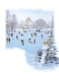 Christmas Cards Design ~ Sledging
